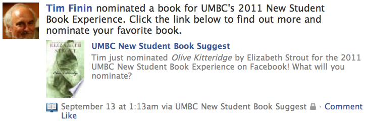 Nominate a book for the 2011 UMBC New Student Book Experience