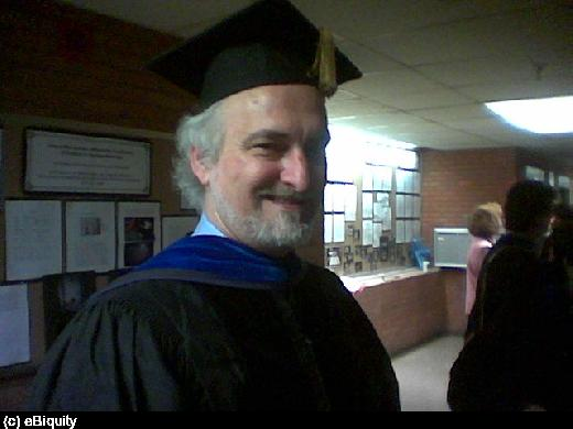 Dr. Finin is getting ready for the Winter 2004 commencement